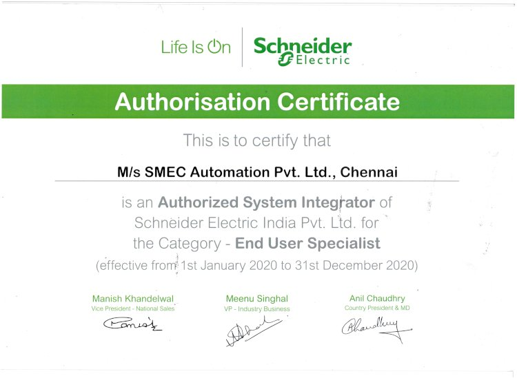 SMEC Automation Pvt Ltd is an Authorized System Integrator of Schneider Electric India Pvt.Ltd