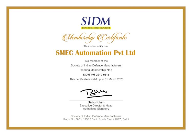 SMEC Automation Pvt Ltd is Becomes a Member of SIDM